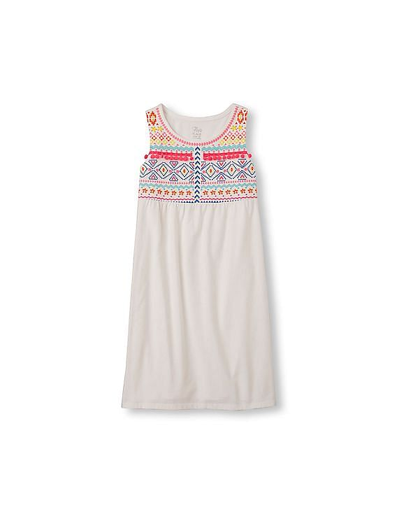 f1286bc468 the childrens place girls girls sleeveless embroidered chinle bodice dress