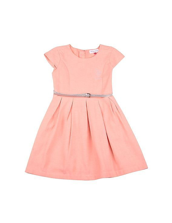 Flat Rs.400 Off on Rs.2000 For New Users on First Purchase | U.S. POLO ASSN. KIDS  Herringbone Weave Fit And Flare Dress By NNNOW @ Rs.2,299