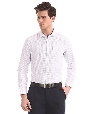Excalibur White And Purple Patterned Check Shirt
