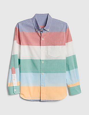 GAP Multi Colour Boys Stripe Poplin Long Sleeve Shirt