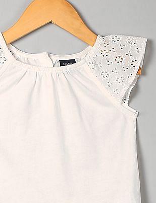 GAP Toddler Girl White Flutter Eyelet Top