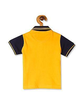 Donuts Yellow Boys Colour Block Cotton Polo Shirt