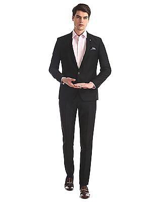 Arrow Newyork Black Zero Calorie Slim Fit Patterned Suit