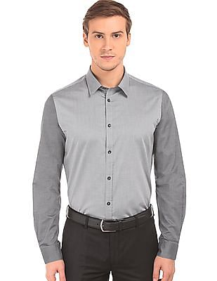 Arvind Kent Collar Cut And Sew Panel Shirt