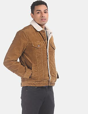 GAP Men Brown Sherpa-Lined Icon Corduroy Jacket