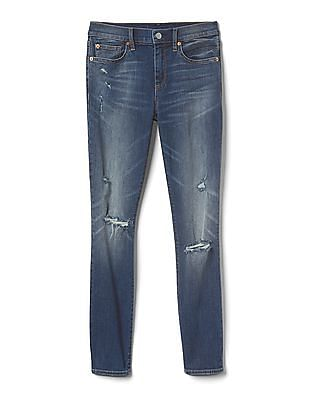 GAP Women Blue Washwell Mid Rise Destructed True Skinny Jeans