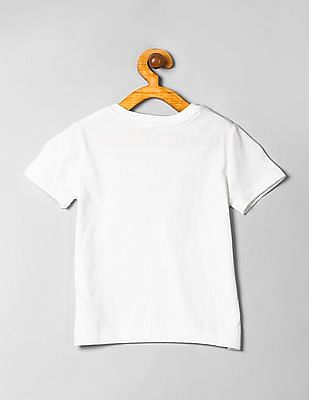 GAP Baby White Printed Crew Neck T-Shirt