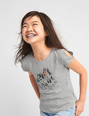 GAP Girls Embellished Graphic Twist Sleeve Tee