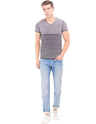 Flying Machine Lightly Distressed Slim Tapered Jeans