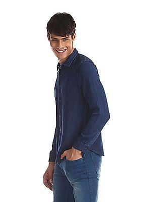 Cherokee Blue Spread Collar Panelled Shirt