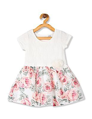 The Children's Place White Toddler Girl Floral Print Fit And Flare Dress