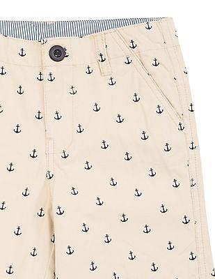 Cherokee Boys Anchor Print Cotton Shorts
