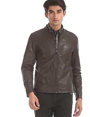 U.S. Polo Assn. Brown Solid Biker Jacket