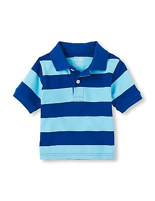 The Children's Place Toddler Boy Blue Striped Cotton Pique Polo