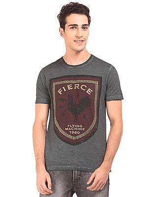 Flying Machine Crest Print Crew Neck T-Shirt