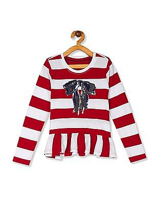 U.S. Polo Assn. Kids Red And White Girls Flippy Sequin Flared Hem Top