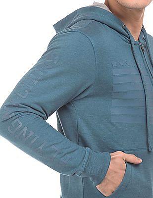 Flying Machine Hooded Zip Up Sweatshirt