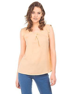 Cherokee Inverted Pleat Woven Top