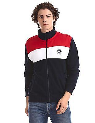 U.S. Polo Assn. Blue High Neck Colour Block Sweatshirt