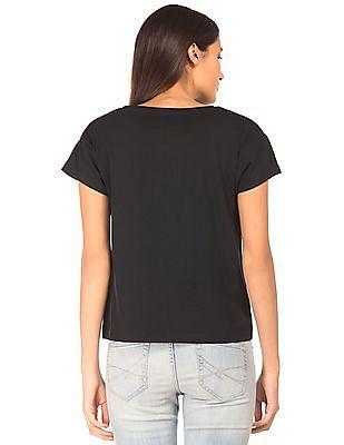 Flying Machine Women Printed Short Sleeved T-shirt
