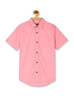 The Children's Place Pink Boys Printed Poplin Shirt
