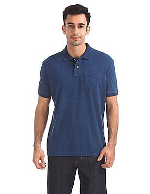 Aeropostale Patch Pocket Slubbed Polo Shirt
