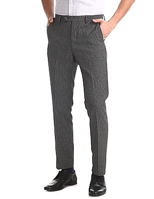 Arrow Newyork Grey Tapered Fit Patterned Trousers