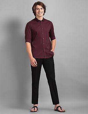 True Blue Black Slim Fit Flat Front Trousers
