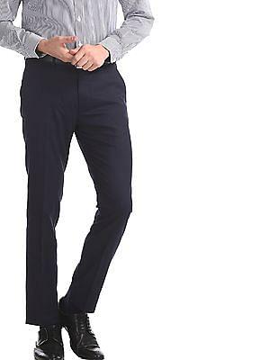 Excalibur Blue Mid Rise Super Slim Fit Trousers