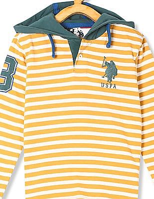 U.S. Polo Assn. Kids Boys Contrast Stripe Hooded T-Shirt