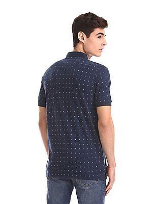 Ruggers Blue Mandarin Neck Printed Polo Shirt