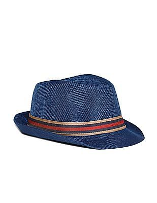 Day 2 Day Blue Boys Striped Tape Fedora Hat
