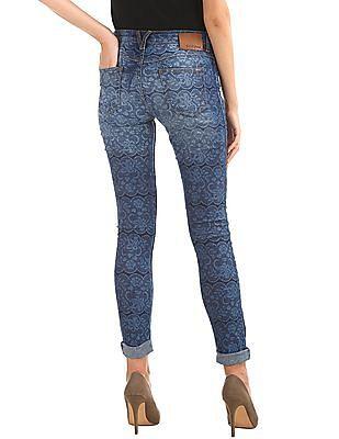 Elle Skinny Fit Printed Jeans