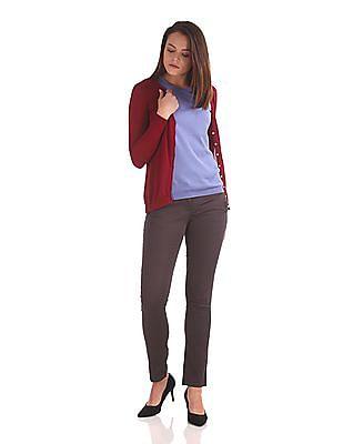 Arrow Woman Flat Knit Solid Cardigan