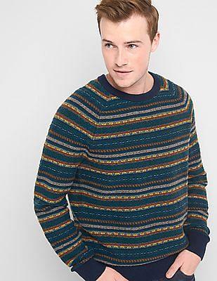 GAP Men Green Fair Isle Crew Neck Sweater