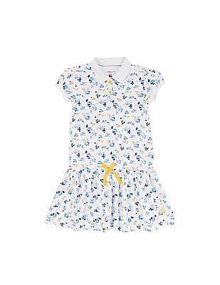 U.S. Polo Assn. Kids Girls Floral Print Polo Dress