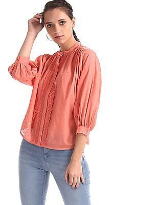 Cherokee Pink Bishop Sleeve Textured Top