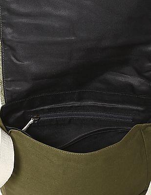 Flying Machine Green Canvas Sling Bag