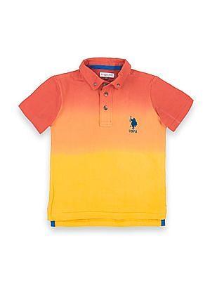 U.S. Polo Assn. Kids Boys Ombre Dyed Button Down Polo Shirt