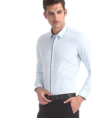 Arrow Newyork Blue Slim Fit Solid Shirt