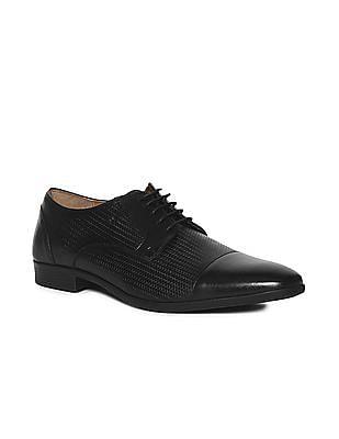 Arrow Black Cap Toe Patterned Derby Shoes