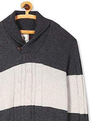 U.S. Polo Assn. Grey Shawl Collar Colour Block Sweater