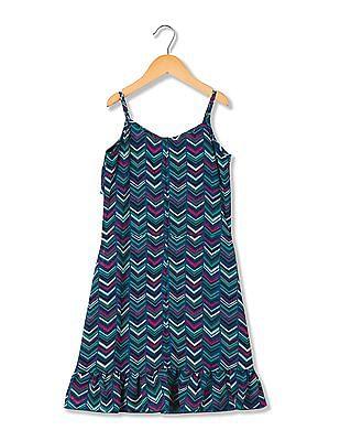 Cherokee Girls Chevron Print Fit And Flare Dress