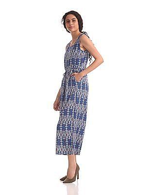 U.S. Polo Assn. Women Contrast Print Sleeveless Jumpsuit