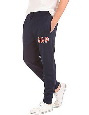 GAP Men Blue Textured Logo Sweats