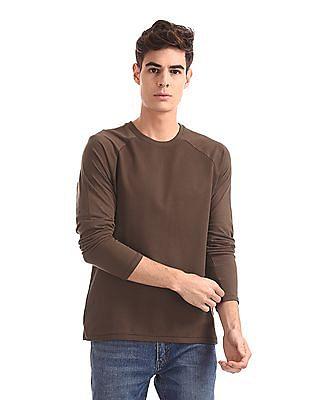 Cherokee Brown Raglan Sleeve Textured T-Shirt