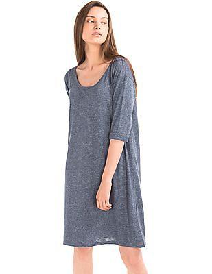 GAP Women Blue Slub T-shirt Dress
