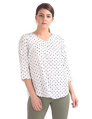 Elle Studio V-Neck Printed Top