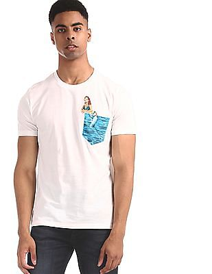 Aeropostale White Printed Pocket Cotton T-Shirt