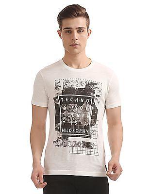 Flying Machine Printed Front Slubbed T-Shirt